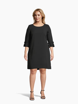 Front View of Women's Luxury Oragami Sleece Shift Dress by Tahari ASL Black