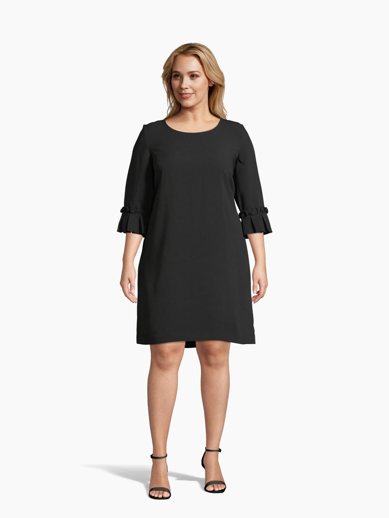 Front View of Women's Luxury Oragami Sleece Shift Dress by Tahari ASL
