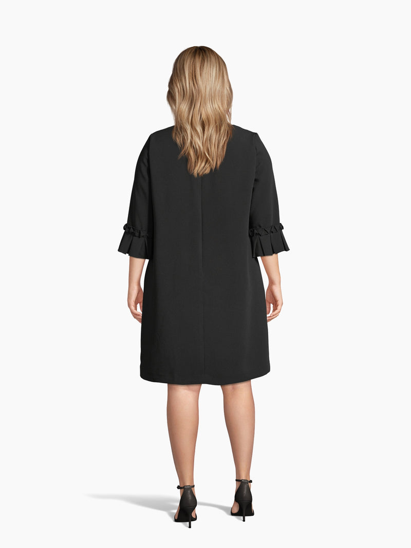 Back View of Women's Luxury Oragami Sleece Shift Dress by Tahari ASL Black