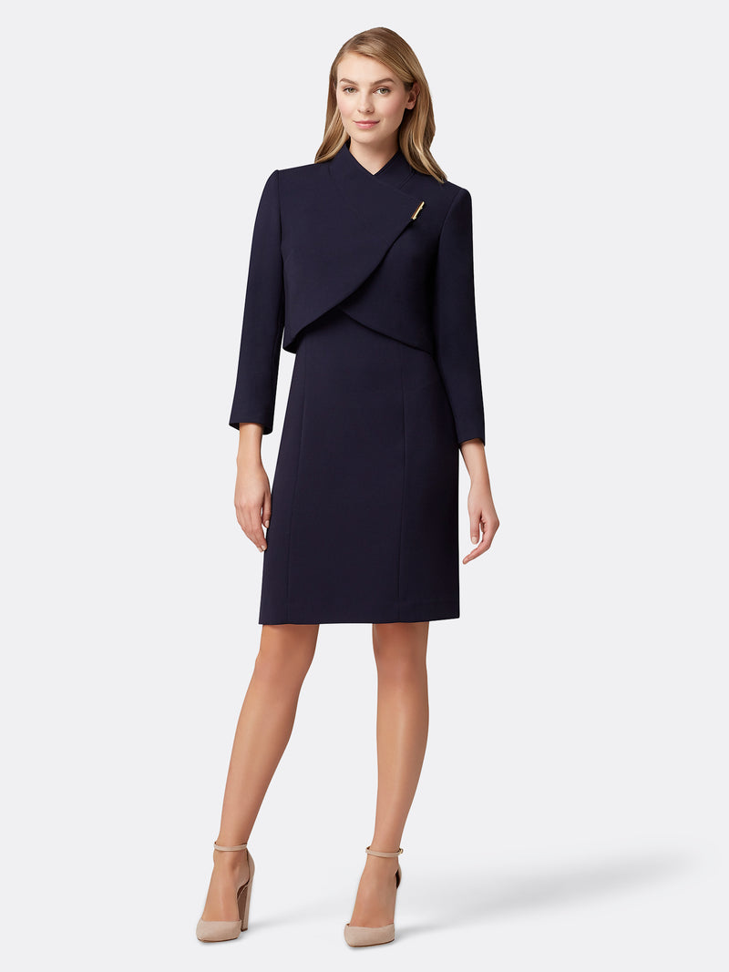 Woman Wearing the Navy Blue Wrap Jacket With Bar Snap and Dress Set Navy
