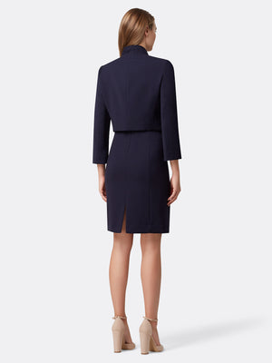 Back View of the Navy Blue Wrap Jacket With Bar Snap and Dress Set Navy