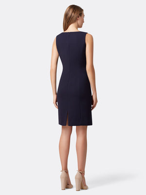 Back View of the Navy Wrap Jacket and Dress Set by Tahari ASL Navy