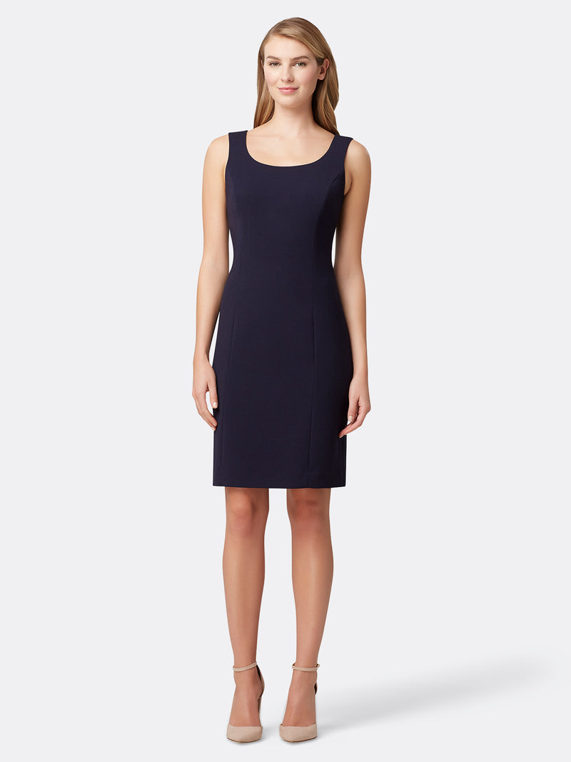 Woman Wearing the Navy Blue Luxury Dress by Tahari ASL Navy