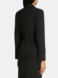 Belted Asymmetric Pebble Crepe Jacket