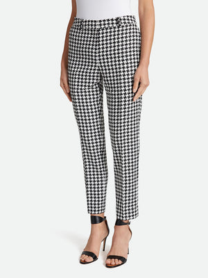 Basketweave Houndstooth Ankle Pants