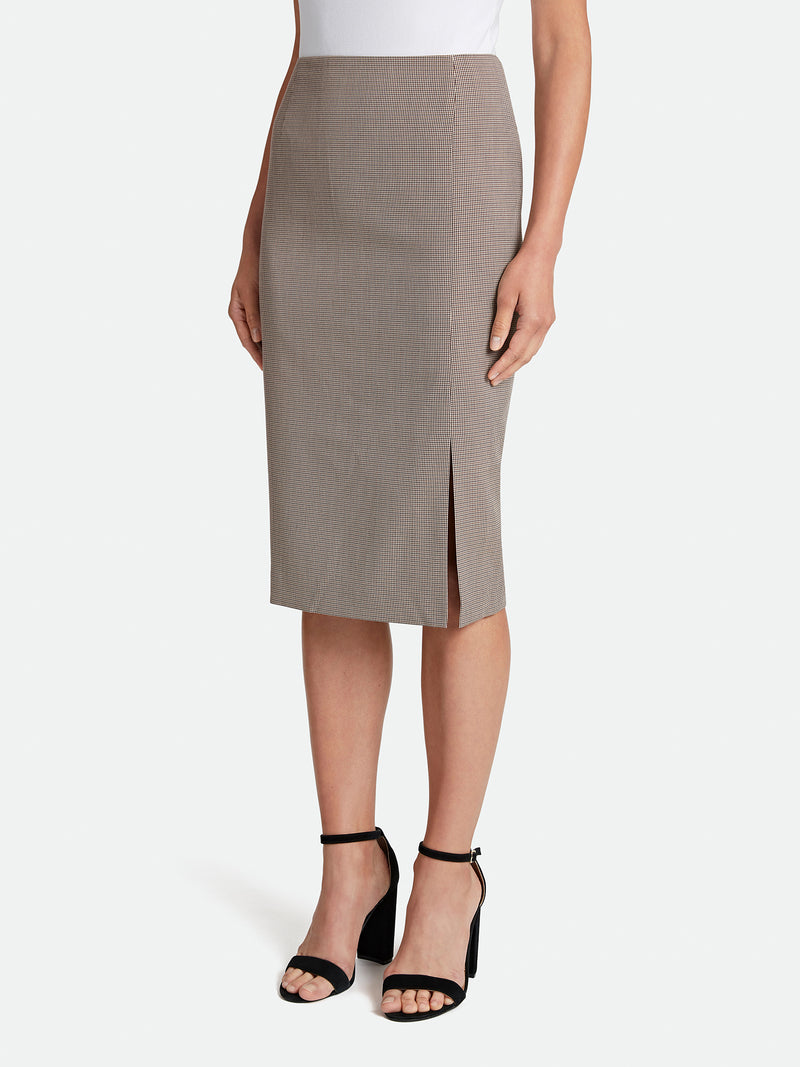 Micro Houndstooth Front Slit Pencil Skirt