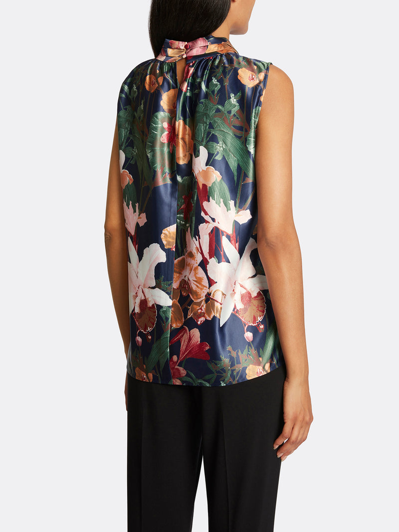 Floral Charmeuse Sailor-Tie Top