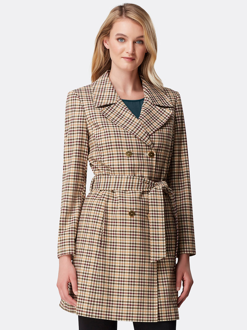 Belted Checked Plaid Trenchcoat