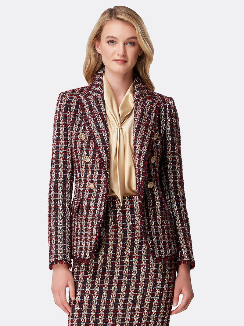 Metallic Bouclé Double-Breasted Jacket