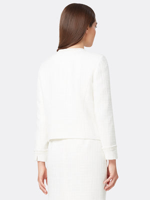 Pearl Trim Metallic Bouclé Jacket