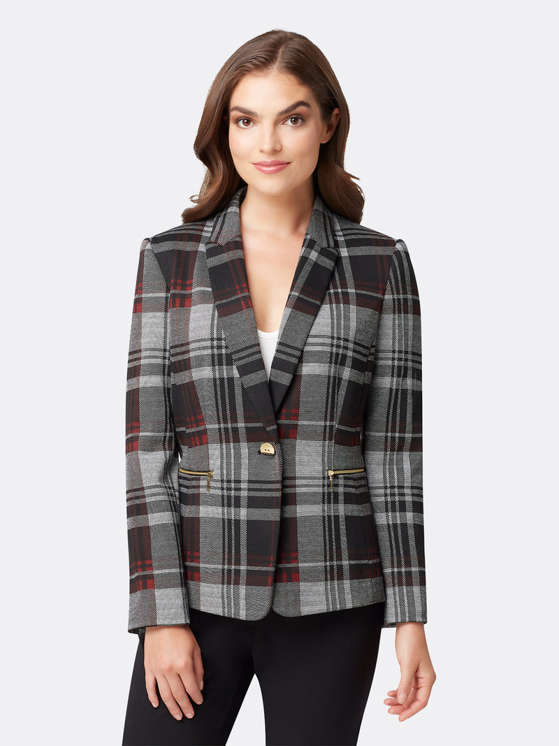 Zip Detailed Mixed Plaid Jacket
