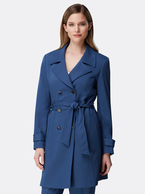 Belted Chevron Twill Trenchcoat