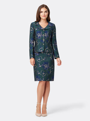 Woman Wearing the Navy Green and Gold Floral Jacket and Skirt Set Navy Green Gold Floral