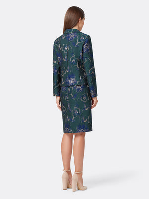 Back View of the Navy Green and Gold Floral Jacket and Skirt Set Navy Green Gold Floral