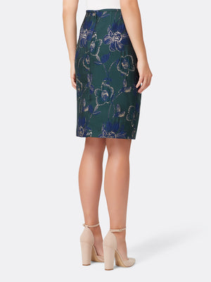 Back View of the Navy Green and Gold Floral Skirt by Tahari ASL Navy Green Gold Floral