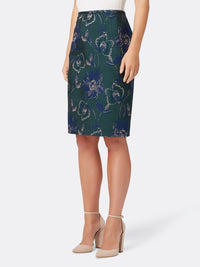 Front View of the Navy Green and Gold Floral Skirt by Tahari ASL Navy Green Gold Floral