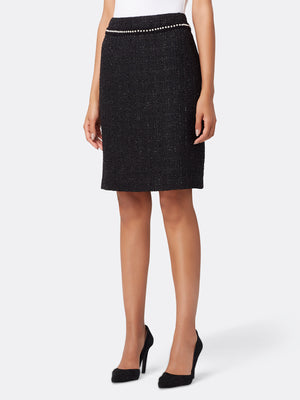 Front View of Women's Black Designer Pencil Skirt with Pearl Trim | Tahari ASL Black Metallic Boucle