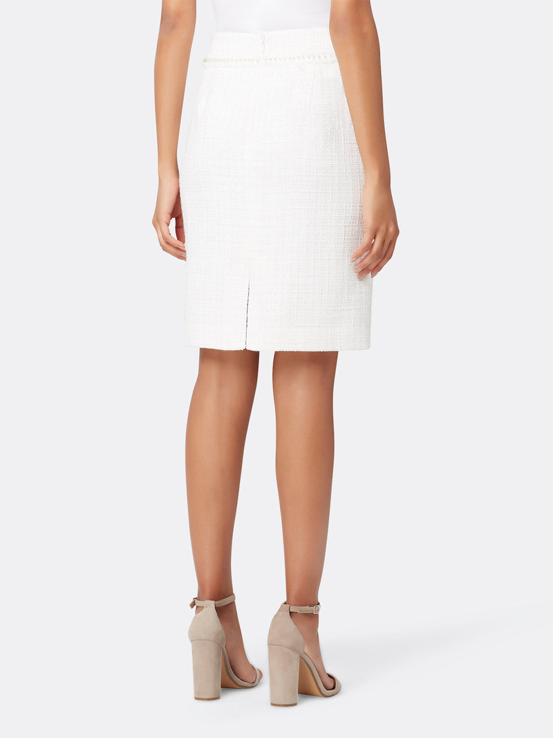 Pearl Trim Metallic Bouclé Skirt