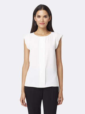 Front View of Women's Flutter Cap Sleeve Blouse in Ivory White | Tahari ASL IVORY WHITE