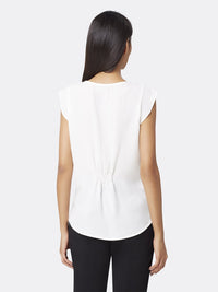 Back View of Women's Flutter Cap Sleeve Blouse in Ivory White | Tahari ASL IVORY WHITE