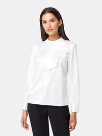 Ruffled Charmeuse Blouse