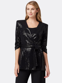 Tahari ASL Womens Petite Collarless Wrap Jacket with Self Tie