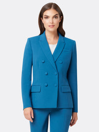 Woman Wearing Blue Double Breasted Dark Teal Jacket | Tahari ASL Dark Teal