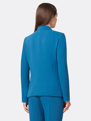 Woman Wearing Blue Double Breasted Jacket With Flap Pockets | Tahari ASL Dark Teal