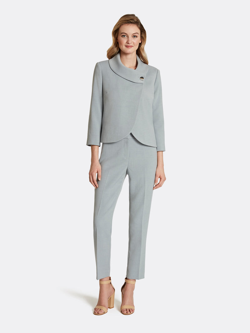 Wrap Collar Double Weave Pantsuit