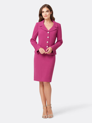 Front View of Women's 4 Button Jacket and Skirt Set in Boysenberry Pink | Tahari ASL