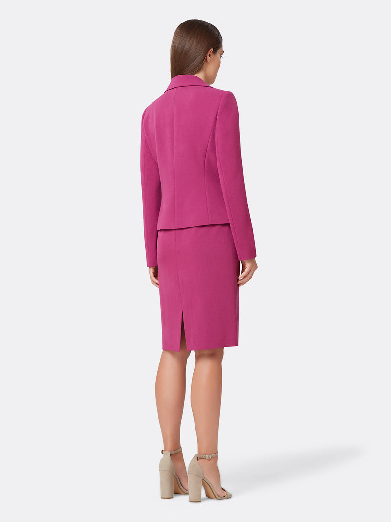 Back View of Women's 4 Button Jacket and Skirt Set in Boysenberry Pink | Tahari ASL