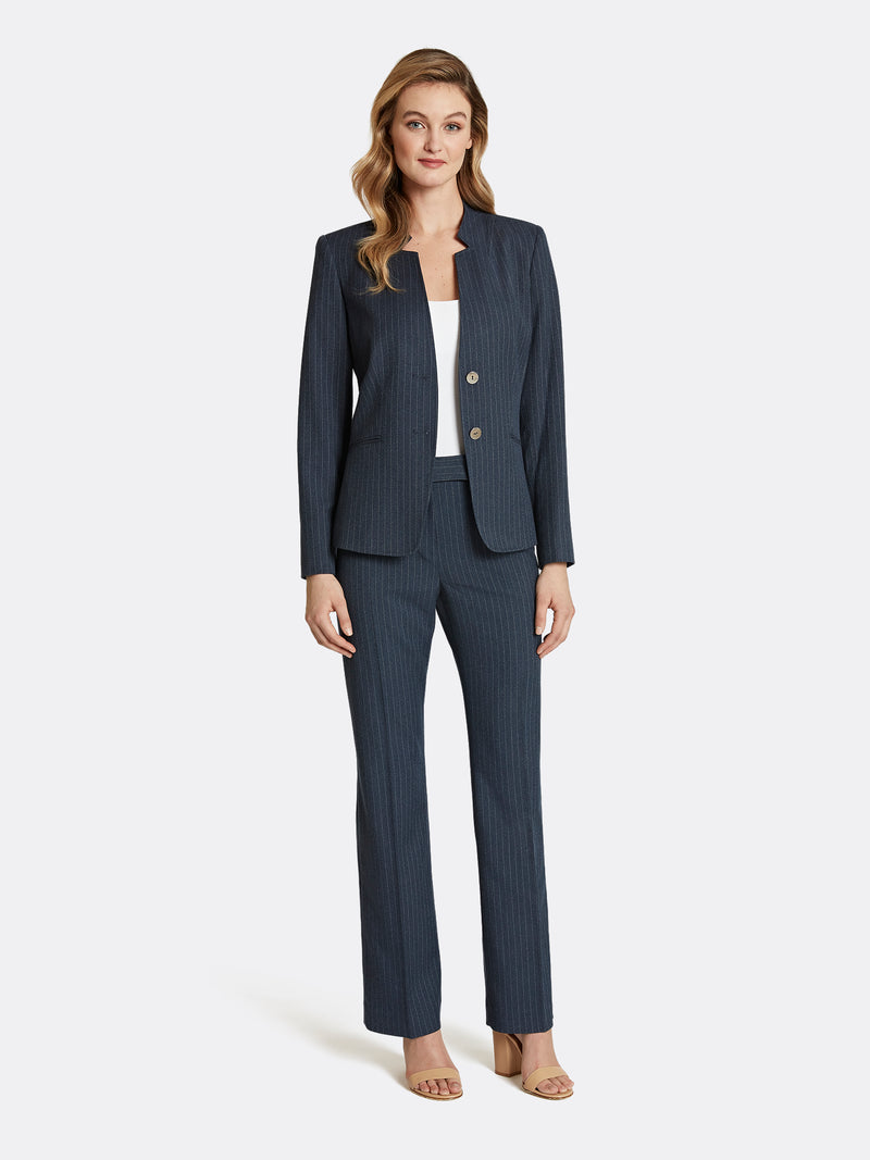 Star-Neck Pinstriped Pantsuit