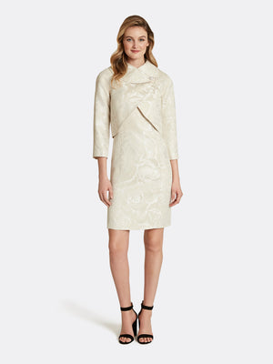 Wrap Collar Jacquard Jacket Dress