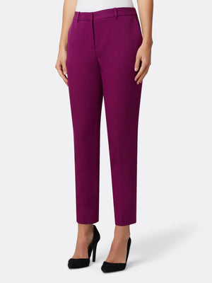 Woman Wearing Luxury Mulberry Ankle Pants | Tahari ASL Mulberry