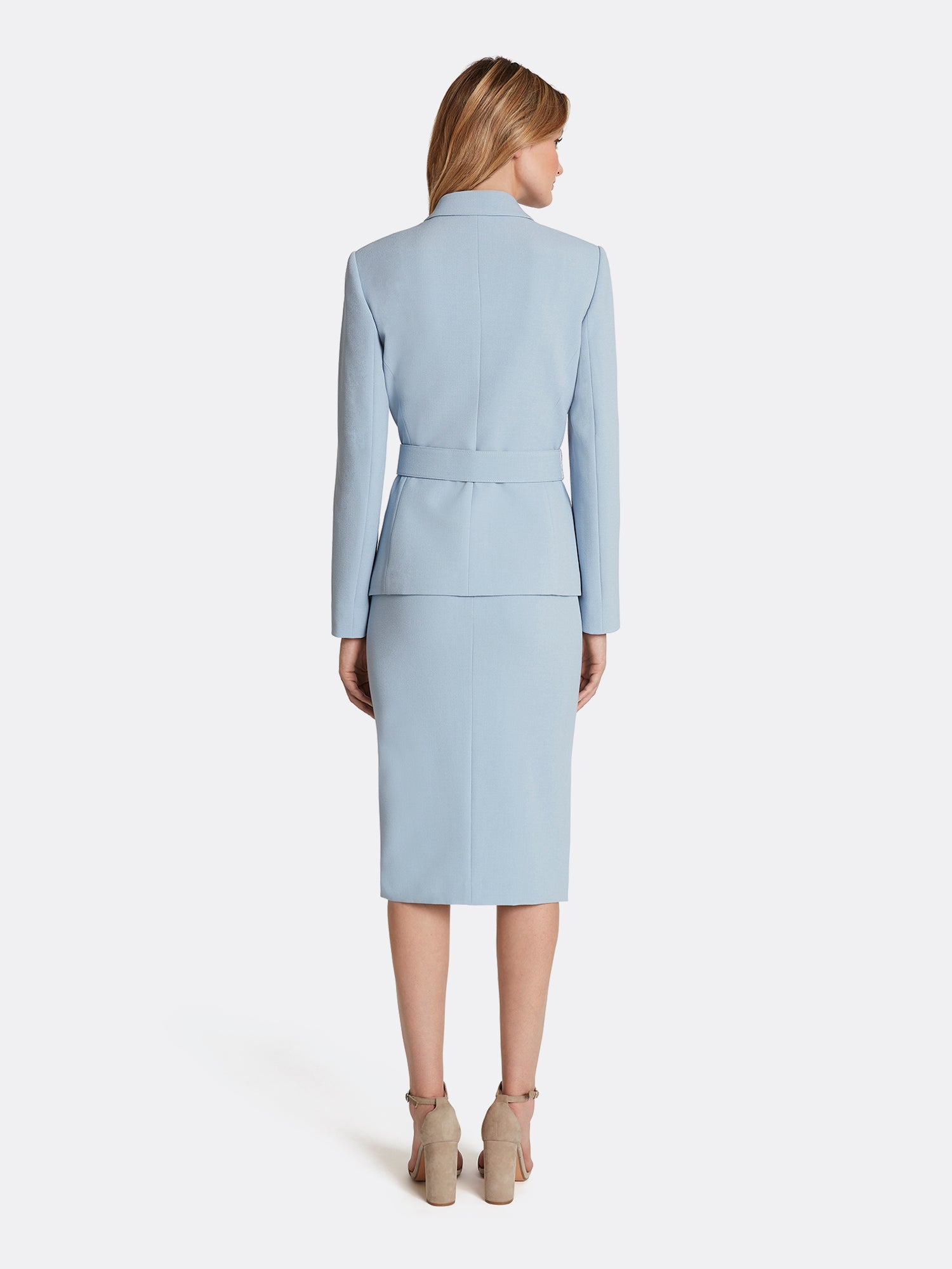 Tahari by ASL Belted Jacket with Pencil Skirt Set