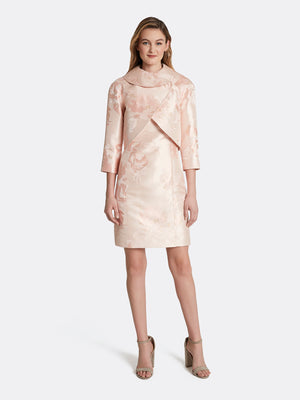 Floral Jacquard Wrap Collar Jacket Dress