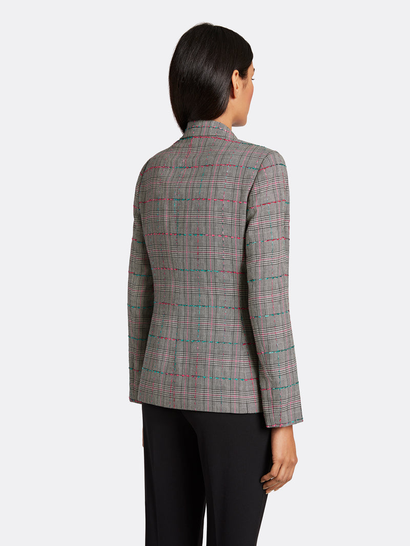 Plaid One-Button Jacket
