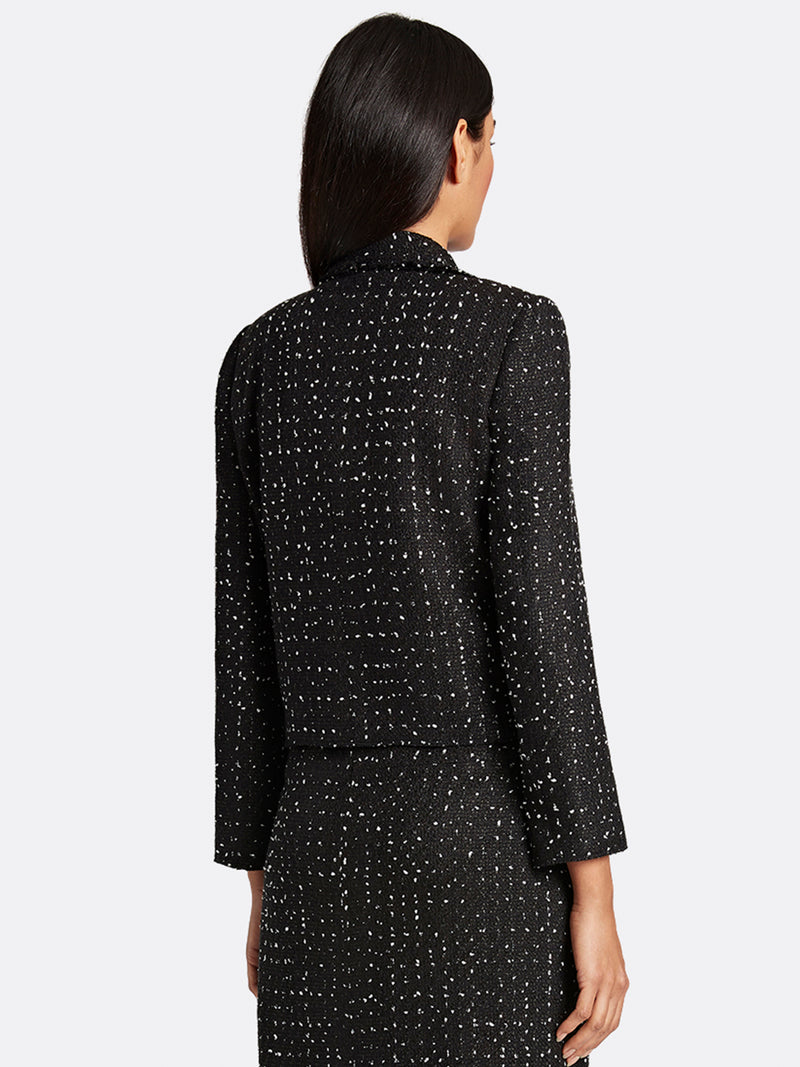 Dot Print Basketweave Jacket