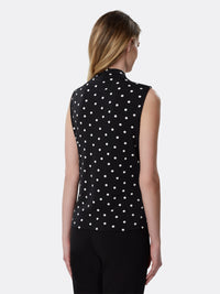 Polka Dot Double-Sash Tie Top
