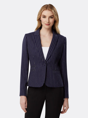Pinstriped Double Welt Pocket Jacket