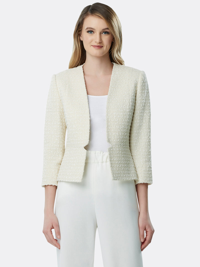 Collarless Waist-Seam Bouclé Jacket