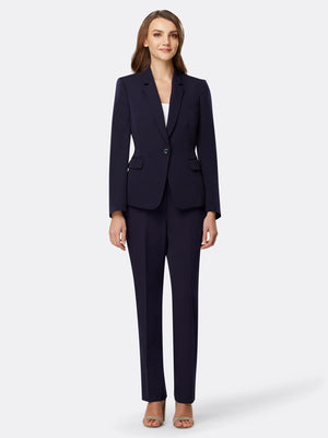 Woman Wearing Navy Blue Blazer With One Front Button | Tahari Asl  NAVY
