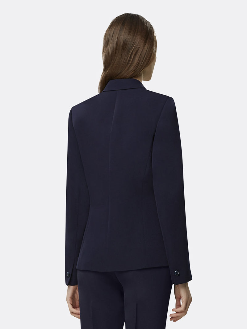 Back View of Woman Wearing Navy Blue Blazer With One Front Button | Tahari Asl  NAVY