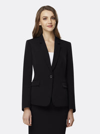 Woman Wearing Black Blazer With One Front Button | Tahari Asl  Black BLACK