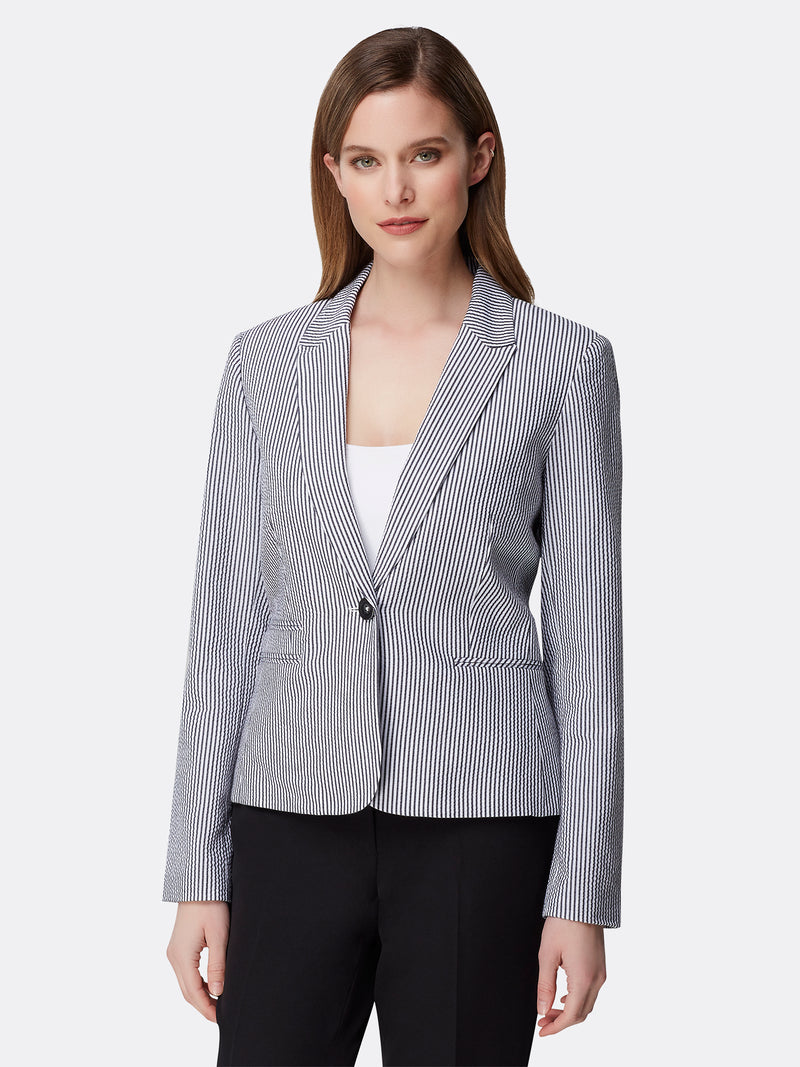 Front View of Women's Designer Double Welt Pocket Jacket by Tahari ASL