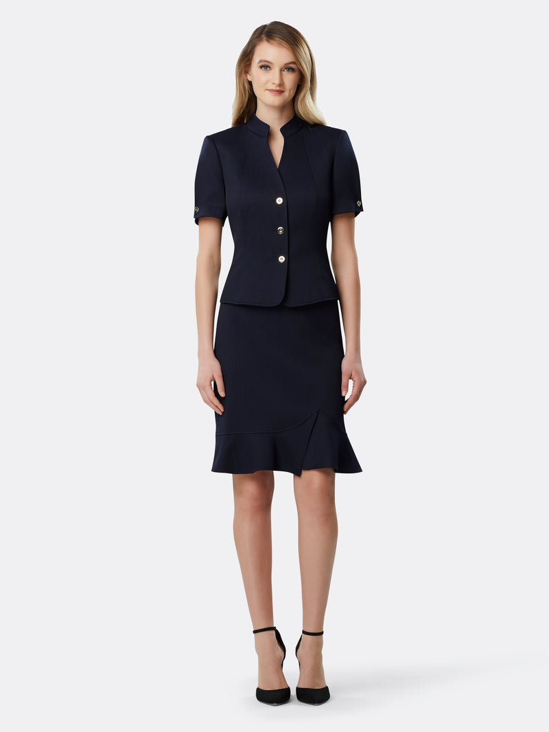 Textured Stand Collar Skirt Suit