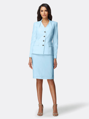 Collarless Flap Pocket Skirt Suit