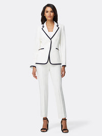 Front View of Women's Luxury Jacket and Pant Set Black and White by Tahari ASL Ivory