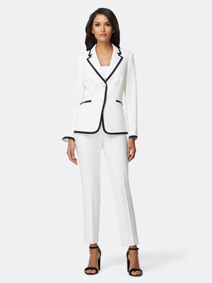 Front View of Women's Luxury Jacket and Pant Set Black and White by Tahari ASL