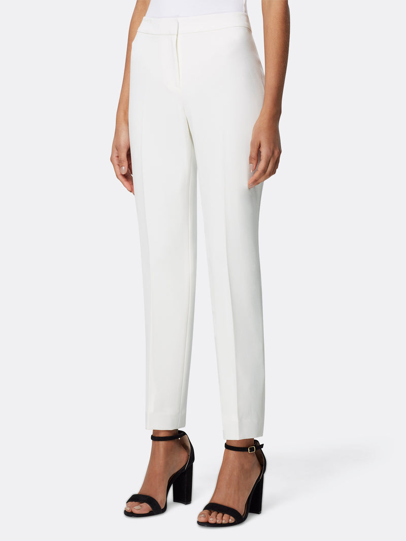 Front View of Women's Luxury White Slim Leg Dress Pant by Tahari ASL